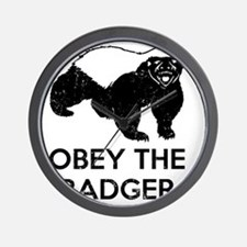 Obey The Badger Wall Clock