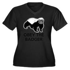 Obey The Bad Women's Plus Size Dark V-Neck T-Shirt