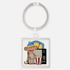 movie night sock monkey Square Keychain