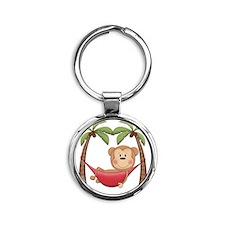 Lazy Monkey Round Keychain