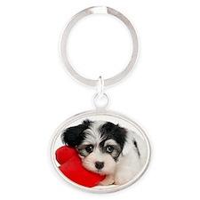Lover Valentine Havanese Puppy Oval Keychain