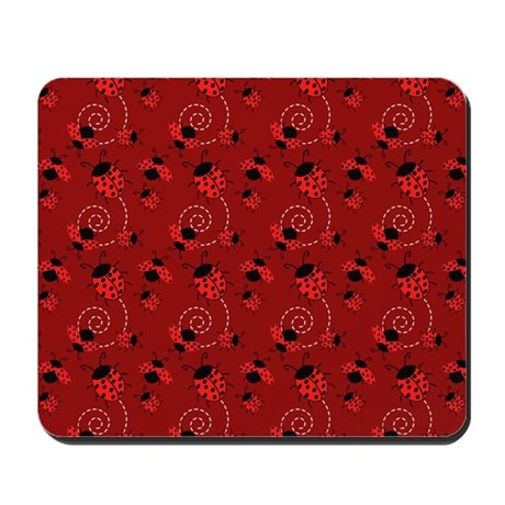 Cute Red and Black Ladybugs Mousepad