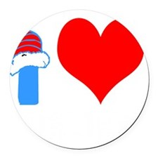 I Love Curling Round Car Magnet