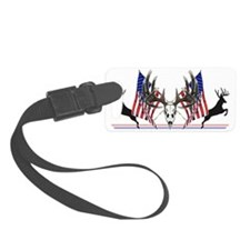 Patriotic Whitetail buck Luggage Tag