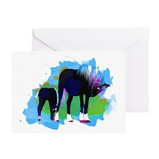 Colorful Mare  Foal Greeting Card