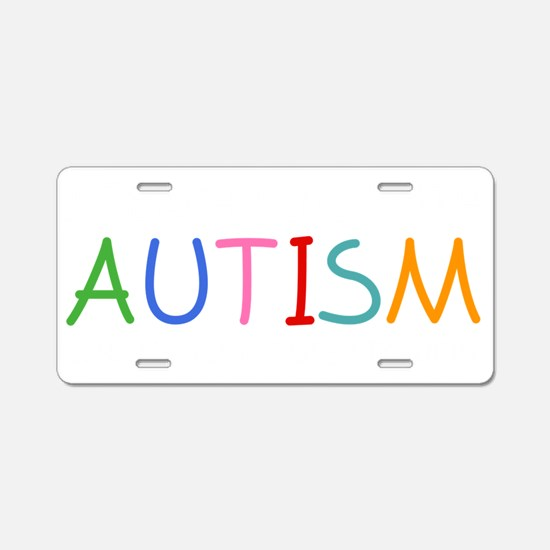 teachKidsAutism1B Aluminum License Plate