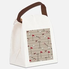 Hole in One Golf Equipment on Tan Canvas Lunch Bag