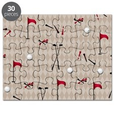 Hole in One Golf Equipment on Tan Argyle Puzzle