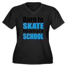 skateboard Women's Plus Size Dark V-Neck T-Shirt
