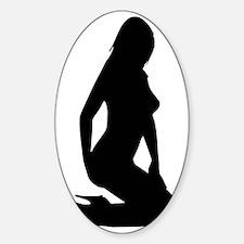 Sexy woman kneeling in heels Sticker (Oval)
