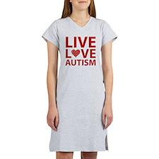 liveLoveAutism2C Women's Nightshirt