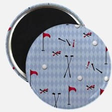 Golf Equipment on Blue Argyle Magnet