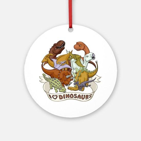I Heart Dinosaurs Round Ornament