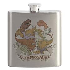 I Heart Dinosaurs Flask