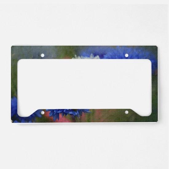 Blue Floral License Plate Holder