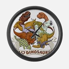 I Heart Dinosaurs Large Wall Clock