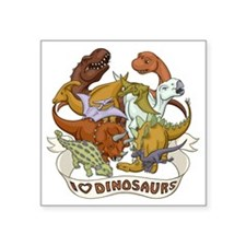 "I Heart Dinosaurs Square Sticker 3"" x 3"""
