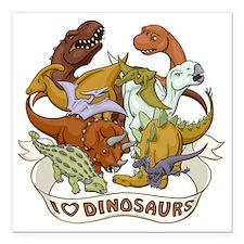 "I Heart Dinosaurs Square Car Magnet 3"" x 3"""