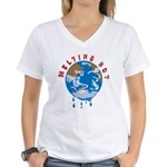 Earth Day ; Melting hot earth Women's V-Neck T-Shi