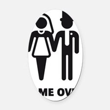 Game Over (Wedding / Marriage) Oval Car Magnet