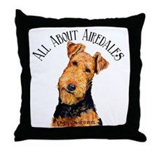 All About Airedales Throw Pillow