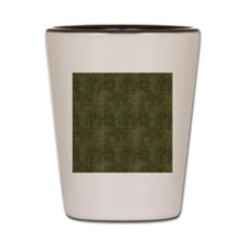 Xs and Os Pattern in Green Shot Glass