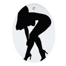 Sexy woman in heels bending over Oval Ornament