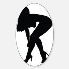 Sexy woman in heels bending over Sticker (Oval)