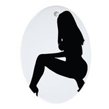 Sexy woman squatting in heels Oval Ornament