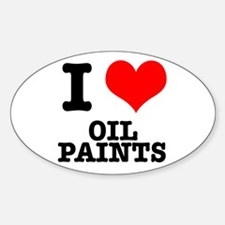 I Heart (Love) Oil Paints Oval Decal