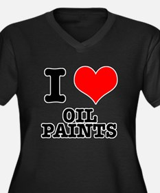 I Heart (Love) Oil Paints Women's Plus Size V-Neck