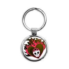 Skull Heart Round Keychain