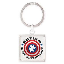 Autism Shield Square Keychain