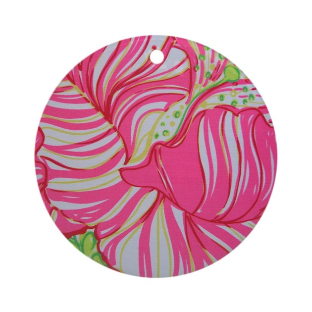 Pink Hibiscus in Lilly Pulitzer Sty Round Ornament by Admin ...