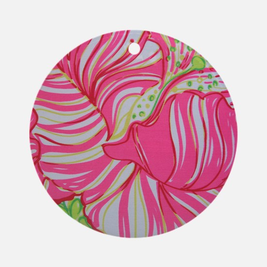 Pink Hibiscus in Lilly Pulitzer Sty Round Ornament