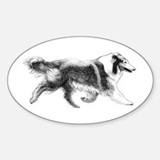 Running Collie Oval Decal
