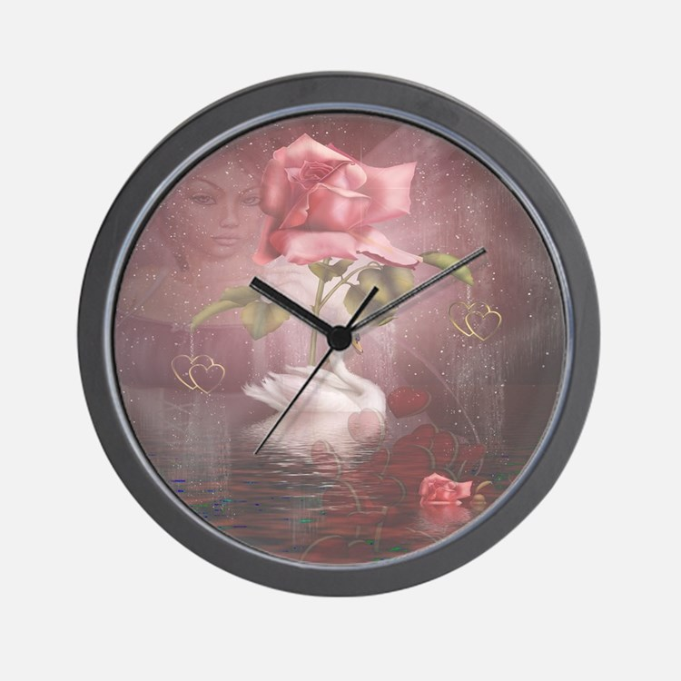 4SSwan Rose Wall Clock