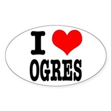 I Heart (Love) Ogres Oval Decal