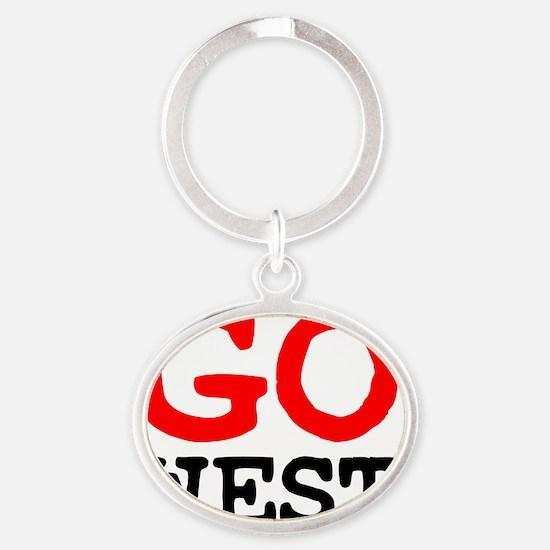 GO WEST! Oval Keychain