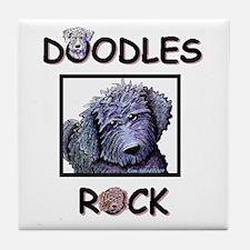 BLACK DOODLES ROCK Tile Coaster