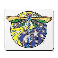 Cosmic Dragonfly Sun/Moon Yin Yang Mousepad