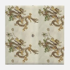 Golden Asian Dragon Tile Coaster