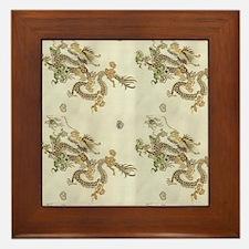 Golden Asian Dragon Framed Tile