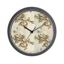 Golden Asian Dragon Wall Clock
