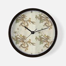 Golden Asian Dragon Wall Clock