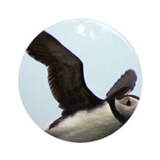 Flying Puffin Round Ornament