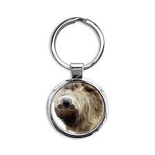 Sloth Curtains Round Keychain