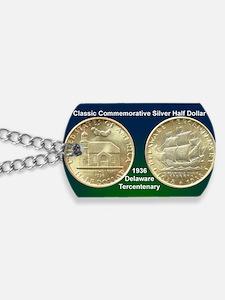 Delaware Tercentenary Half Dollar Coin Dog Tags