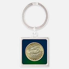 Delaware Tercentenary Half Dollar  Square Keychain