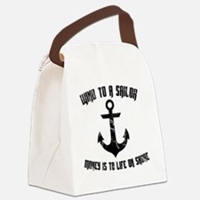 Wind To A Sailor - Black Canvas Lunch Bag